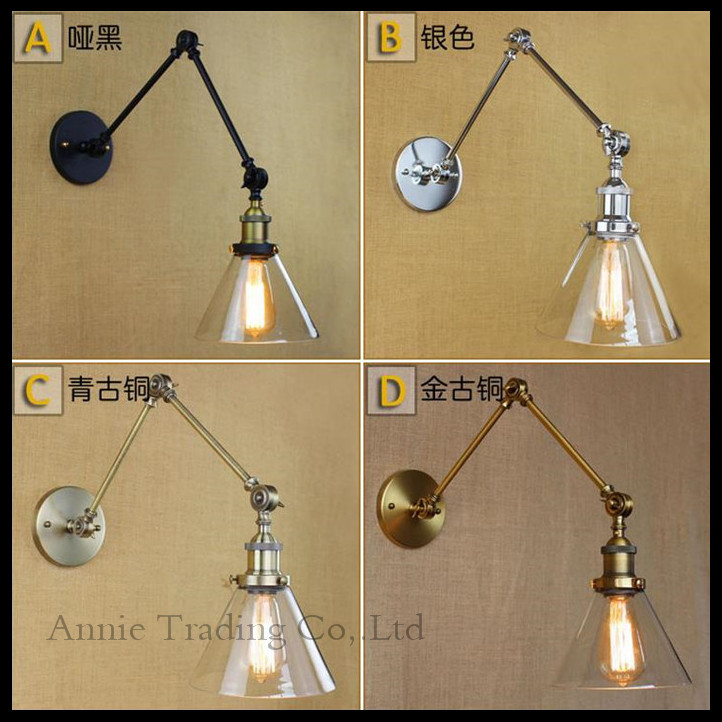Funnel Filer Clear Glass lampshade Modern Double swing arms wall lamp Vintage Black Chrome Bronze Copper plated wall sconces