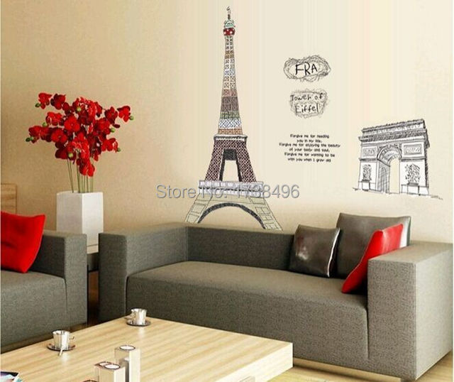 Paris Themed Living Room Do You Need Blackout Curtains For 1pc Eiffel Tower Decoration Large Vinyl Wall Art Decals Bedroom Stickers 3d Wallpaper On Walls 150 108cm