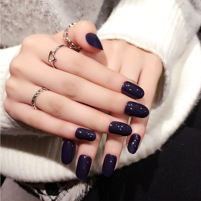 24pcsset Elegant Purple False Nails Korean Style Simple Fake Nail