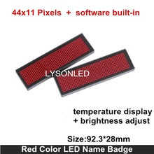 LYSONLED HD-NT44 Red Color Scrolling Message Led Name Badge , 44×11 Dots Single Color Rechargeable Led Name Tag For Event