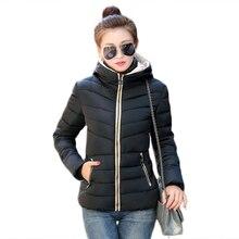 Заводские 2016 зима новый прибыть Женщин Парки Корейский стиль с капюшоном полный рукавом pure color короткие тонкий пальто 6018