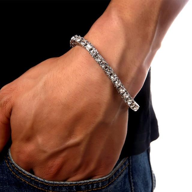 Men S Luxury Simulated Cz Fashion Tennis Chains Bracelets Bangles High Quality Bracelet Hip Hop Style