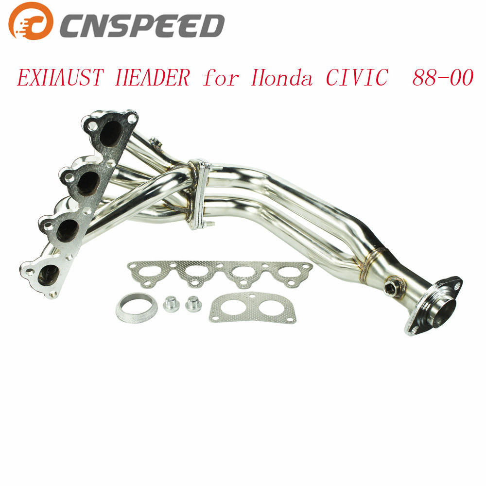CNSPEED STAINLESS STEEL PIPING HEADER MANIFOLD EXHAUST FOR HONDA CIVIC 88-00 EG EF EK EM EXHAUST HEADER YC100753 15m high temperature header manifold exhaust wrap fiberglass roll orange page 3