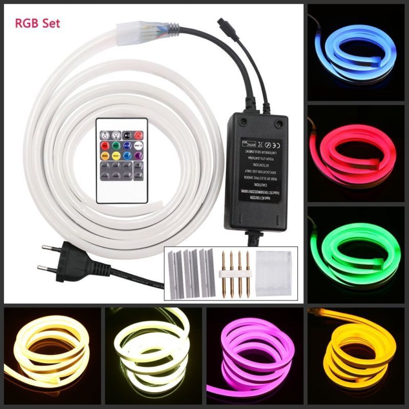 1m 5m 10m 20m 100m 220V RGB LED Neon Strip Light 120Led/m Waterproof Flexible Led Rope for Indoor Outdoor +Power Plug clip kit