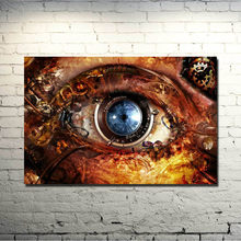 Ogen Steampunk Klokken Gears Lens Abstracte Fantasy Art Silk Poster 13x20 24x36 inches Foto Voor Living Room Decor (Nieuwe)(China)