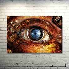 POPIGIST-Eyes Steampunk Clocks Gears Lens Abstract Fantasy Art Silk Poster 13×20 24×36 inches Picture For Living Room Decor(New)