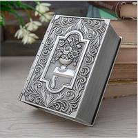 European creative book shape metal jewelry storage box rangement maquillage organizer box cotton bud holder Z181
