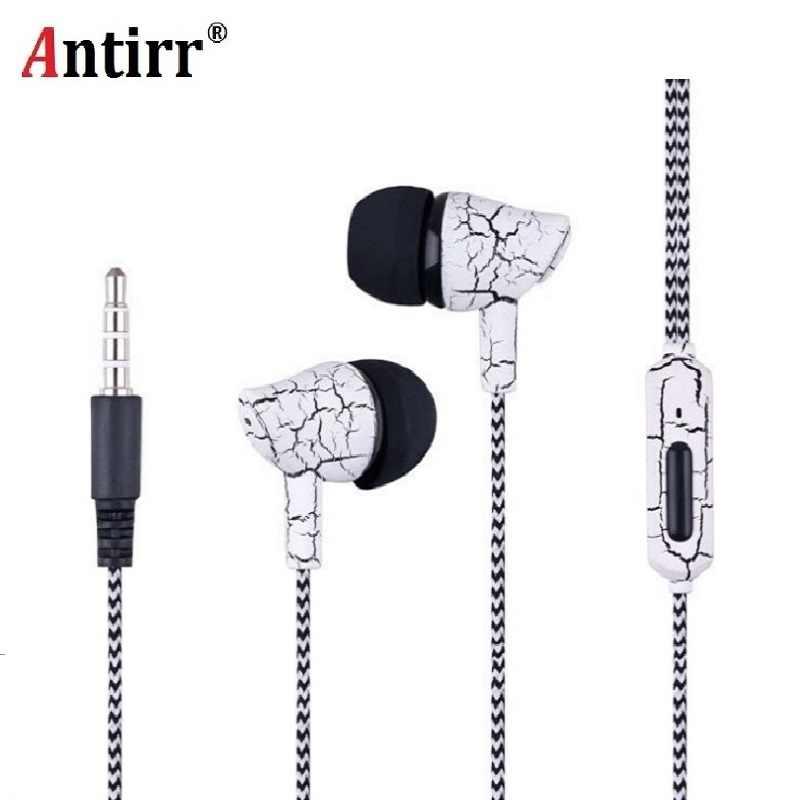 Sport Earphone Kabel Headphone Super Bass 3.5 Mm Crack Earphone Earbud dengan Mikrofon Tangan Gratis Headset untuk Samsung MP3 MP4