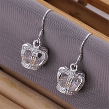 Exquisite Crystal Crown women silver plated earrings high quality luxury fashion classic silver jewelry best gift