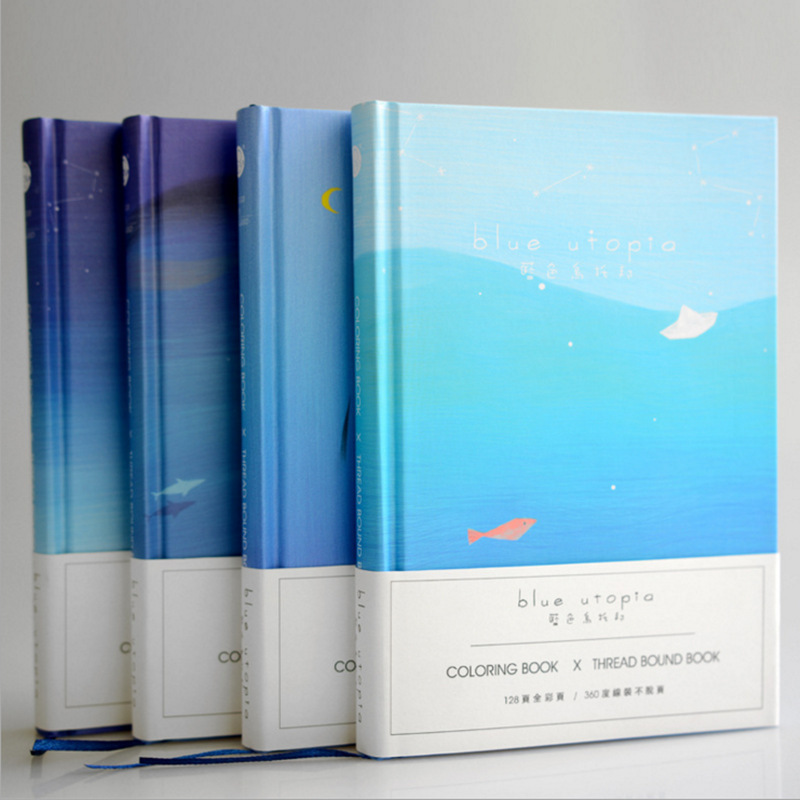 Blue Ocean Big Hard Cover Study Diary Cute Journal Beautiful Notebook Blank Papers Memo