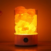 USB Romantic Colorful Night Light Pressure Relief Himalayan Crystal Salt Lamp Black Natural Anion Purification Air