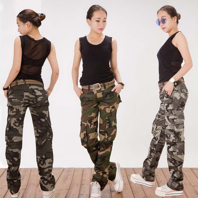 Cool Women Camouflage Army Print Embroidery Capri Cargo Wide Baggy Pants