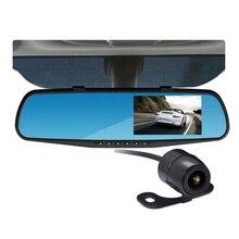 G-sensor Auto Registrator Car Recorder 2 Cameras Time&Date Display Motion Detection DVR Parking Monitor 4.3 inch Mirror