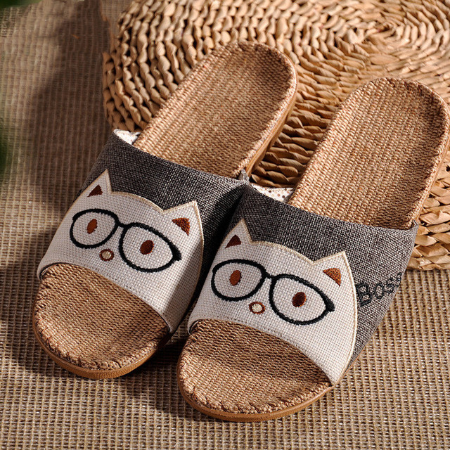 2637eff72cf1 KESMALL Sale Natural Bamboo Rattan Home Slippers Summer New Linen Cane Grass  Weave Women Flat Slippers Home Shoes S1