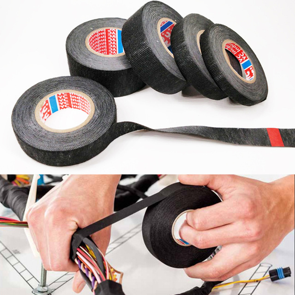 Black 32mm*12m Adhesive Cloth Fabric Tape Cable Looms Wiring Harness IS