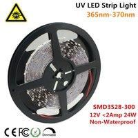 UnvarySam Ultraviolet LED Strip 365nm 370nm 375NM 380NM 385NM 5M 12V SMD2835 300LEDs UV Ultraviolet For