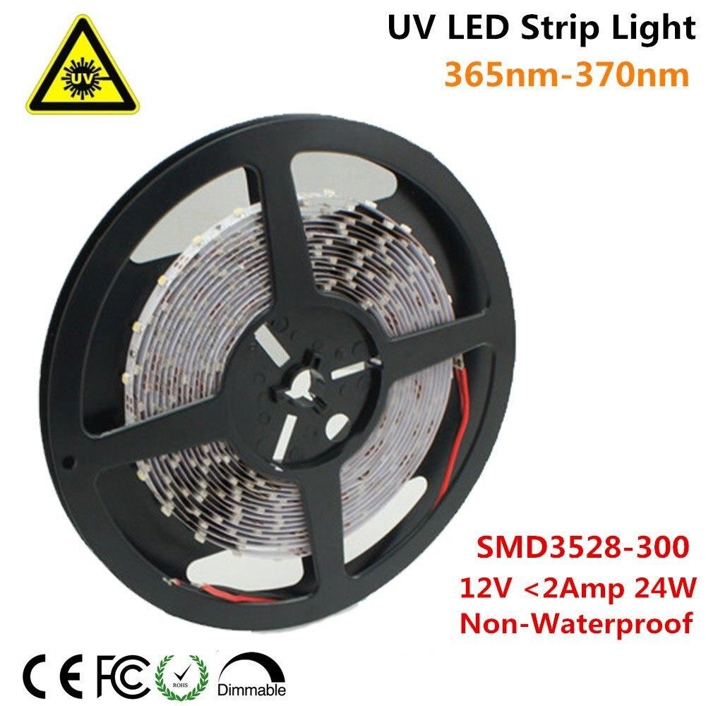 UnvarySam Ultraviolet LED Strip 365nm 370nm 375NM 380NM 385NM 5M 12V SMD3528 300LEDs UV Ultraviolet For UV Curing Metal Crack