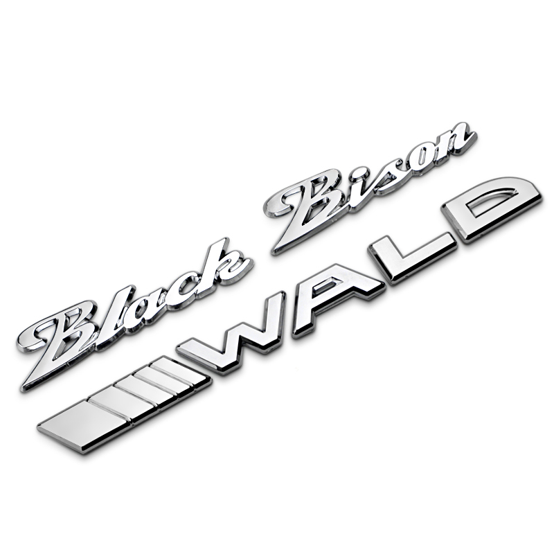black bison wald separate letters chrome metal zinc car styling refitting emblem trunk badge logo 3d
