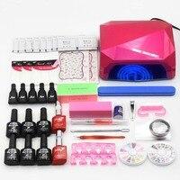 Nail Set Manicure Toos 36W UV Lamp 6 Color 10ml Soak Off Gel Varnishes Nail Base
