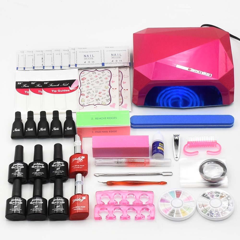 Nail art set Manicure Toos NAIL Lamp Dryer 6 Color 10ml Soak Off Nail Polish Gel varnishes Base Gel Top Coat lacquer nail kits