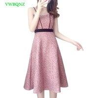 Summer New Sexy Dress Women Bare shoulder Slim High waist Sleeveless Dresses Womens Korean Splice Pink A word Sling Dresses A551