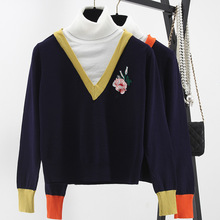 big European and American runway winter heavy turtleneck sweater stitching embroidery false two shirt pullovers