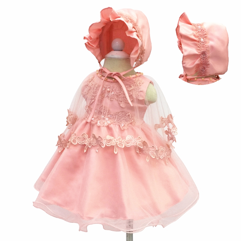 Free Shipping 6-24 Month Formal Infant Dresses 2018 New Arrival Peach Girl Baby Dress For 1 Year Birthday Cute Christening Gowns