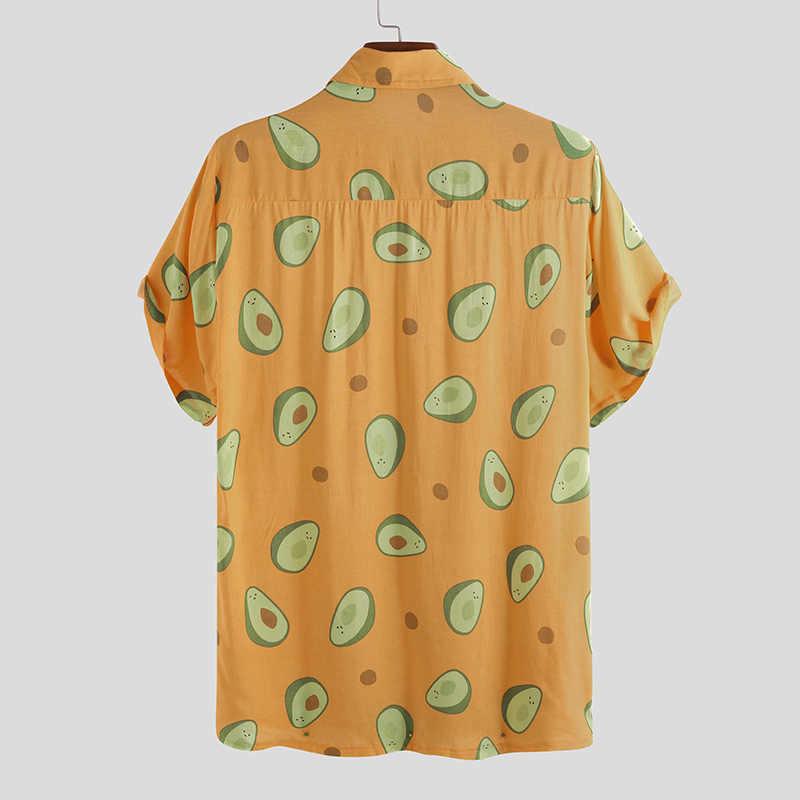 INCERUN Лето 2019 модная Гавайская Мужская рубашка с отворотом и принтом Повседневная Праздничная рубашка авокадо уличная индивидуальность Camisa Masculina 5XL