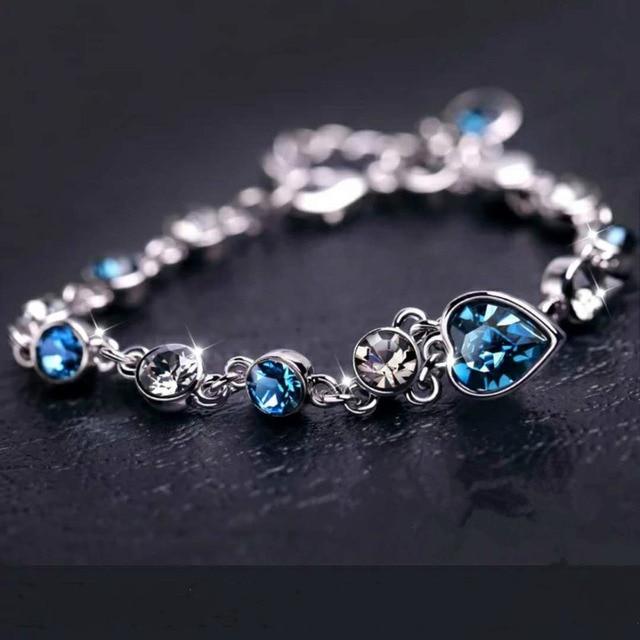 925 Sterling Argento di Colore Zaffiro Braccialetto Per Le Donne Romantico Blu dei monili pulseira feminina kehribar bizuteria Braccialetto 5