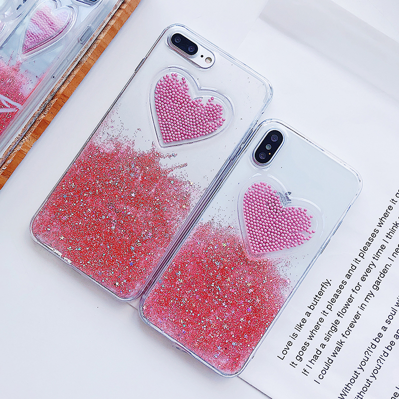 Liquid Glitter Case For iPhone 7 8 6 Plus X Cases Fo iPhone 6S Case Lovely Heart Quicksand Dynamic Clear Cover For iphone 8 Case (5)