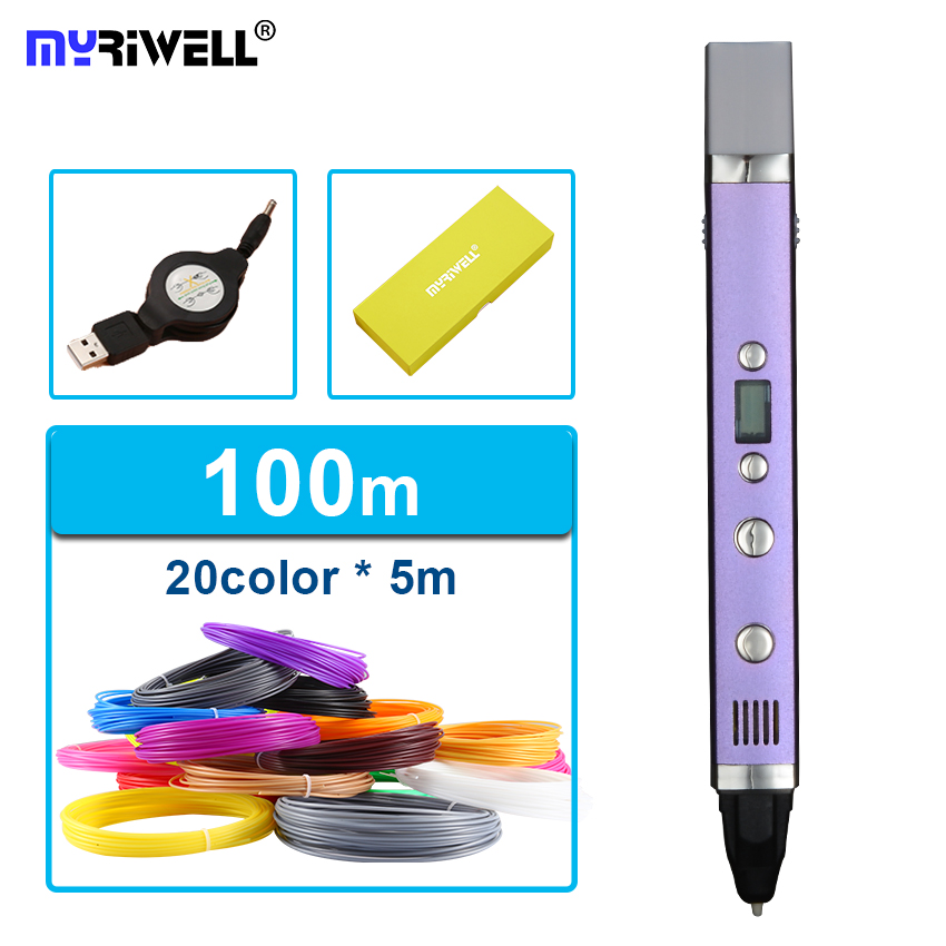 Free shipping myriwell generation third 3D PEN with usb cable temperature display screen 20 pcs ABS filament DIY drawing toy christmas gifts fast epacket dewang newest 3d pen wiht usb cable low temperature free 9m abs pla child gift for imagination