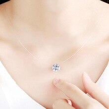 Fashion Collier ZirconTransparent Fishing Line Necklace Women Cross Heart Choker Silver Invisible Chain CK