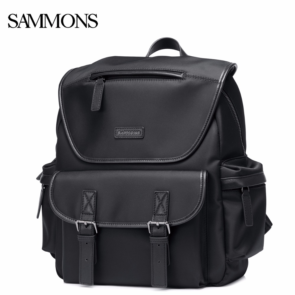 SAMMONS Men's Nylon Waterproof Backpack Casual Travel Rucksack Male Youth School 14 inch Computer Double Shoulder Bags 190441 14 15 15 6 inch flax linen laptop notebook backpack bags case school backpack for travel shopping climbing men women