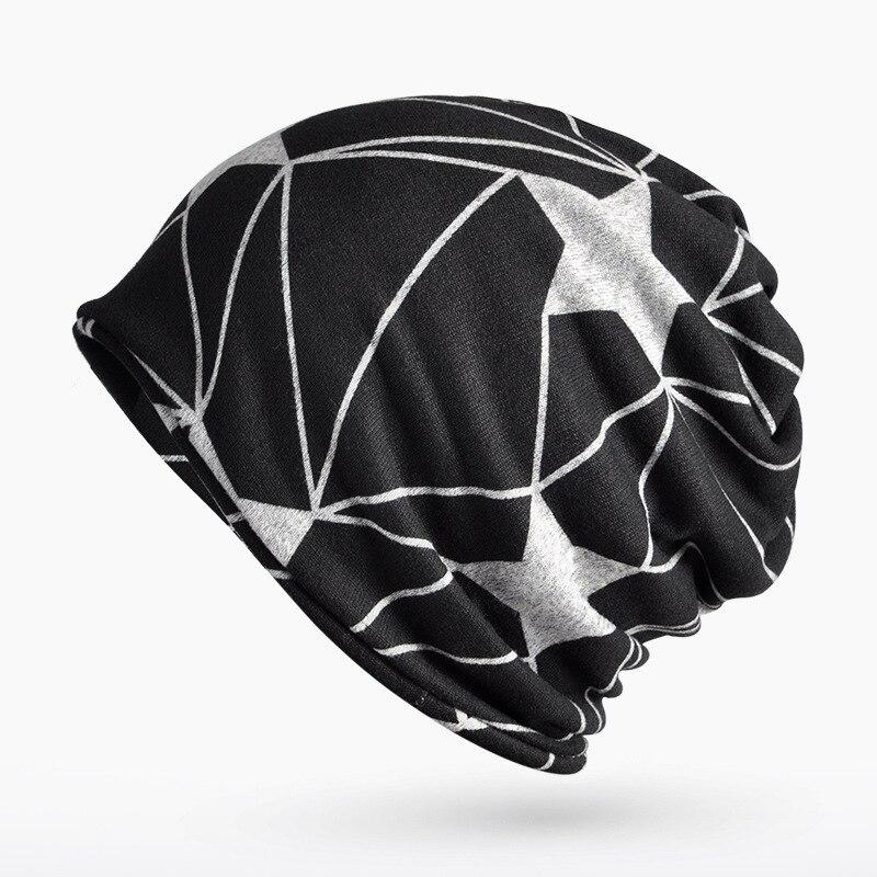 Fashion Autumn Winter Beanie Hats for Men and Women Star Cotton Knit Fleece Skullies Scarf fashion printed skullies high quality autumn and winter printed beanie hats for men brand designer hats