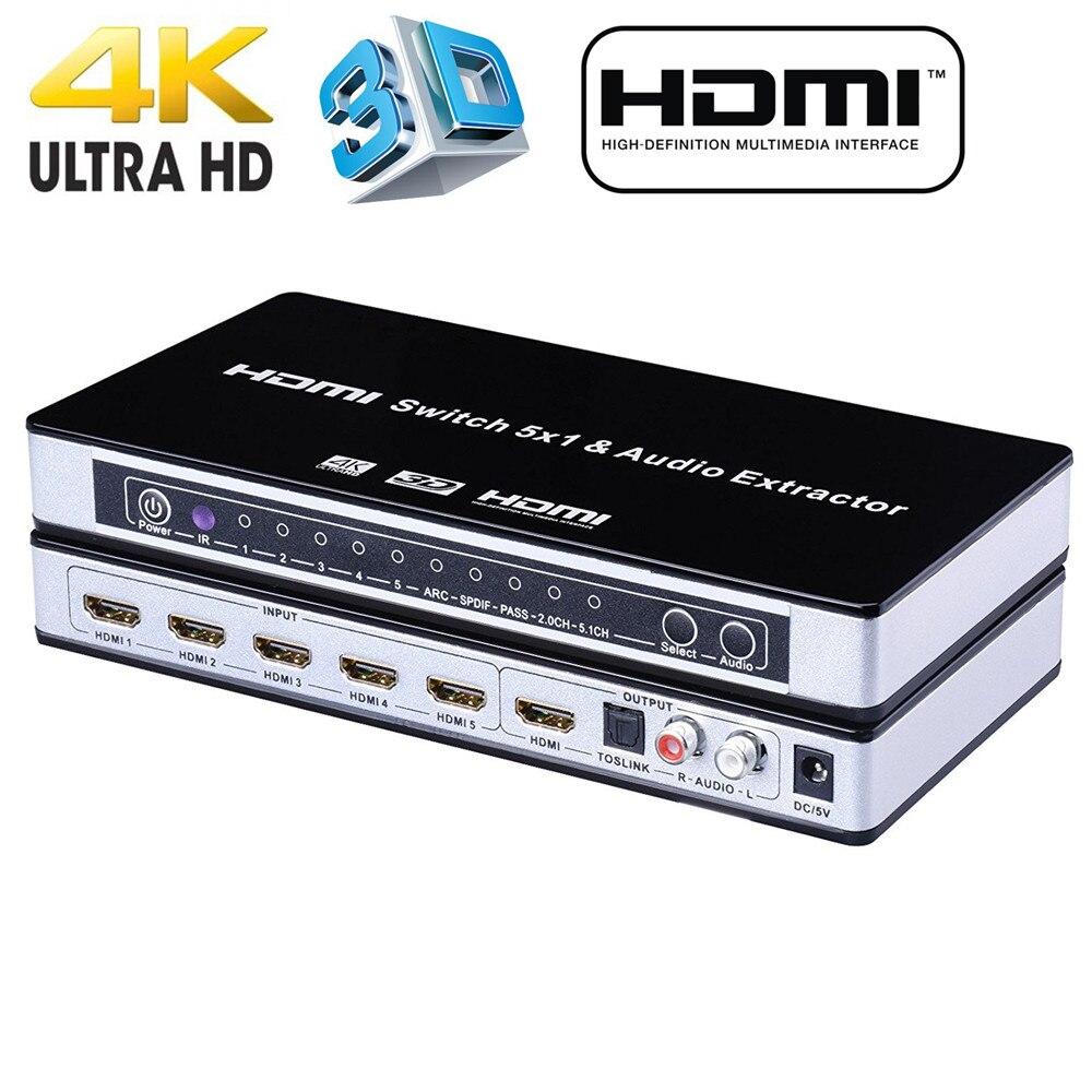 2019 HDMI Switch conmutador 5x1 HDMI Audio Extractor 4K x 2K 3D arco de Audio EDID de HDMI 1,4 v interruptor HDMI control remoto para PS4 Apple TV