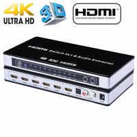 2020 HDMI Switch conmutador 5x1 HDMI Audio Extractor 4K x 2K 3D arco de Audio EDID de HDMI 1,4 v interruptor HDMI control remoto para PS4 Apple TV