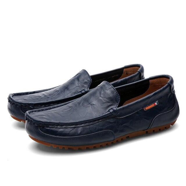 2017 Весна мужские из натуральной кожи мокасины обувь, Ручной Работы мужчин мягкой дышащей вождения квартиры обувь, Удобные ботинки мужской