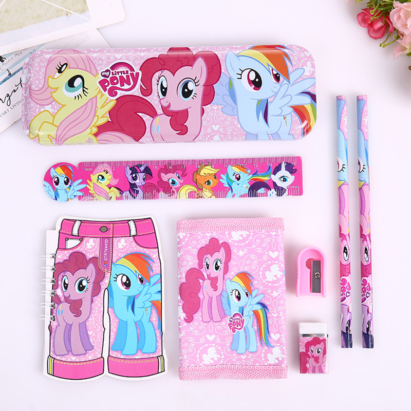 8pcs/set cartoon small horse stationery set novelty kawaii students school supplies children back to school study high quality8pcs/set cartoon small horse stationery set novelty kawaii students school supplies children back to school study high quality