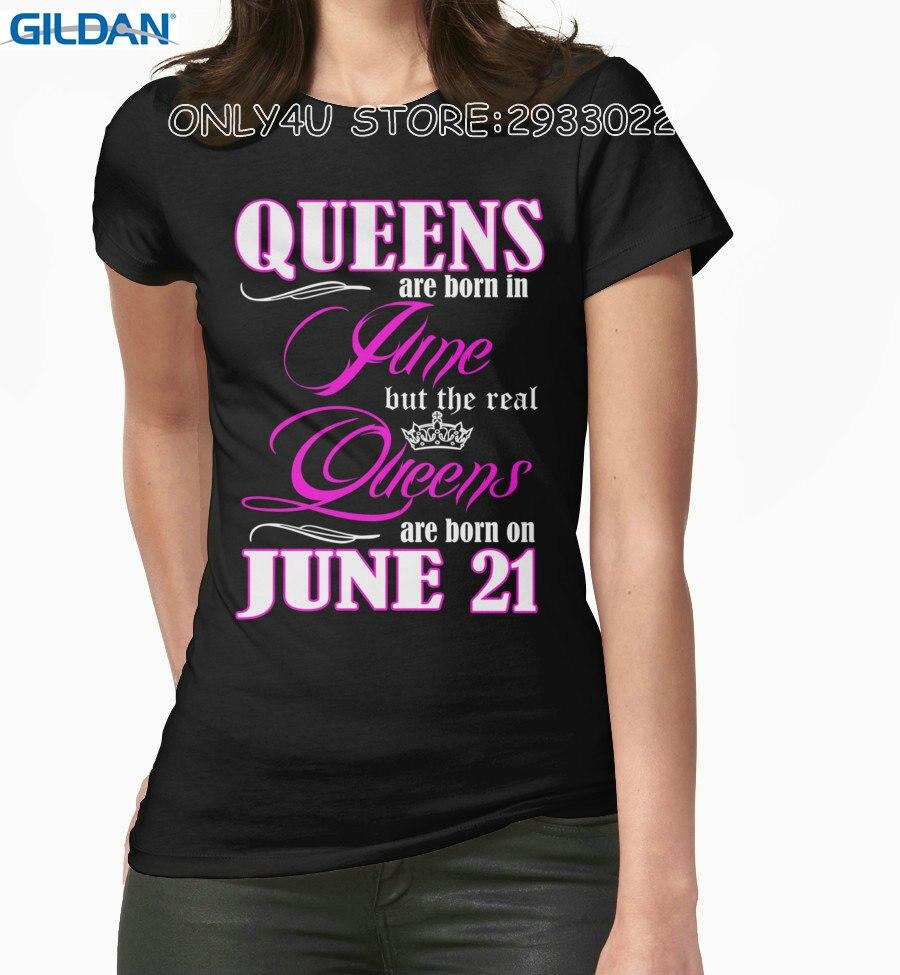 2019 Nieuwe Stijl Goedkope T-shirts Online Vrouwen Korte 100% Katoen Crew Hals Queens Zijn Geboren Op Juni 21 Tees Geschikt Voor Mannen, Vrouwen En Kinderen