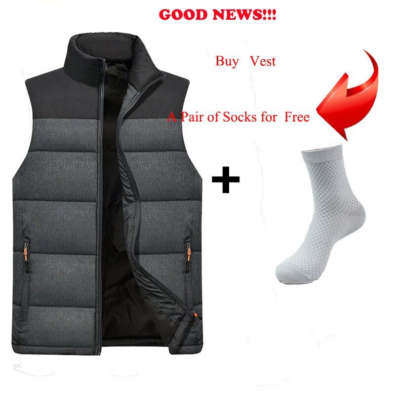 Image 4 - FALIZA New Mens Jackets Sleeveless Vest Winter Mens Warm Down Vest Homme Casual Thicken Waistcoat Chalecos Para Hombre 5XL MJ MVests & Waistcoats   -