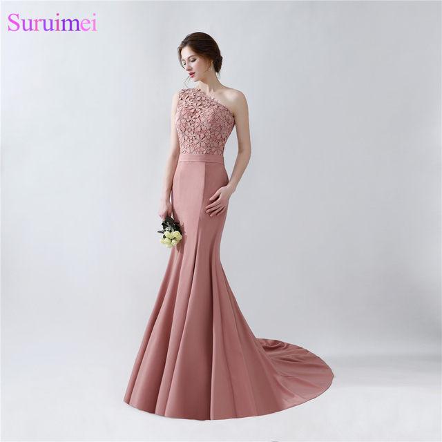 Online Shop Long Mermaid Blush Brown Evening Dresses One Shoulder ...