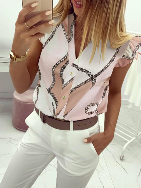 2019 Summer Women Elegant Work Wear OL Leisure Blouse Female Stylish Fashion Top V-Neck Print Ruffles Casual Shirt 1
