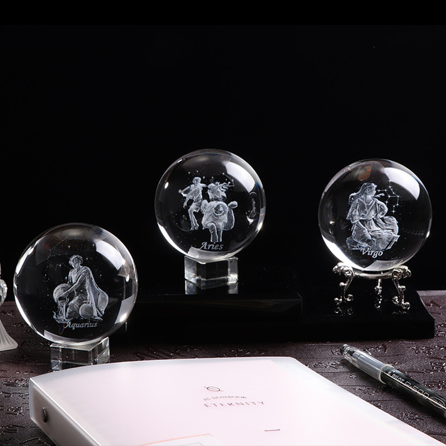80 MM Laser Engraved Zodiac Sign Crystal Ball Miniature 3D Crystal Craft  Glass Ornament Sphere Home Decoration Accessories Gift 5