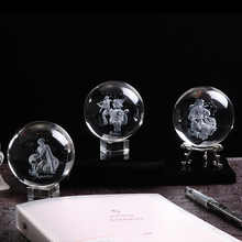 80 MM Laser Engraved Zodiac Sign Crystal Ball Miniature 3D Crystal Craft  Glass Ornament Sphere Home Decoration Accessories Gift