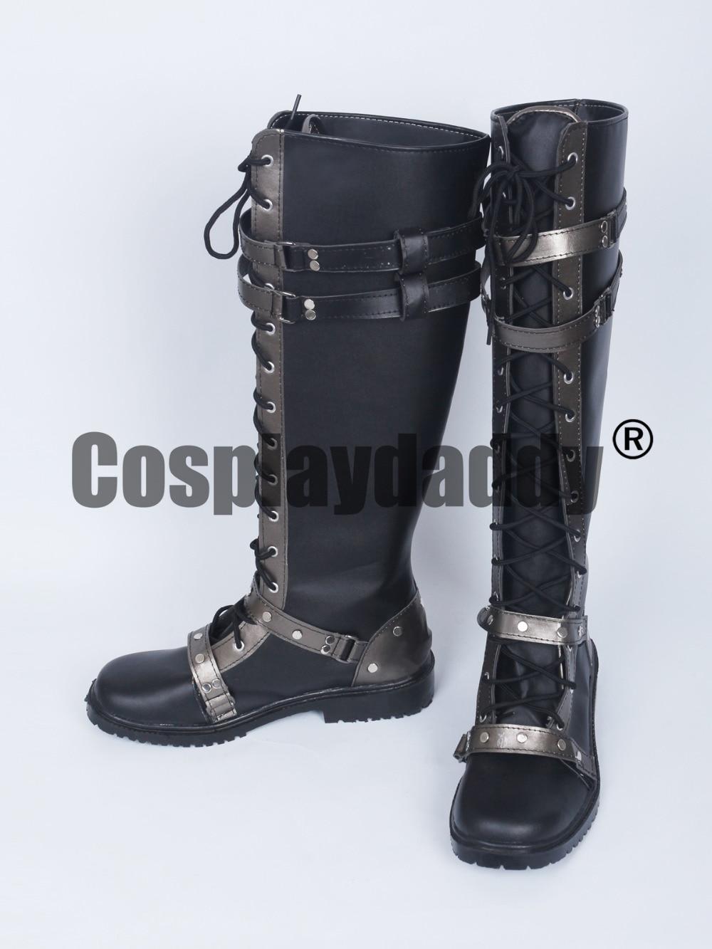 Kingsglaive Final Fantasy XV Nyx Ulric Black Long Cosplay Shoes Boots S008