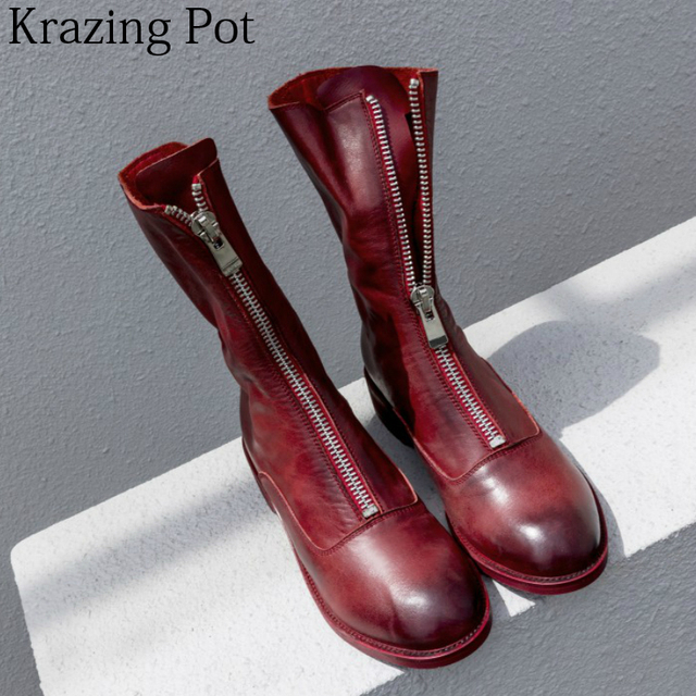 2018 Brand Winter Shoes Cow Leather Zipper Motorcycle Boots Thick Heels Streetwear Retro Office Lady Women Mid-calf Boots L51