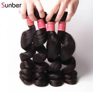 Image 4 - Sunber saç perulu gevşek dalga saç demetleri ile kapatma Remy insan saç örgüleri 16 26 inç 3 /4 demetleri ile kapatma