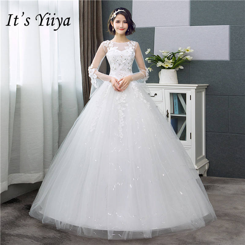 It's YiiYa Fashion Flare Sleeve Wedding Dresses Simple Off White Sequined Cheap Wedding Gown De Novia HS286