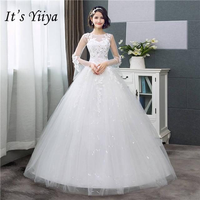 2f729eb489fa9 It's YiiYa Wedding Dress Fashion Flare Sleeve Wedding Dresses Simple Off  White Sequined Cheap Wedding Gown De Novia HS286