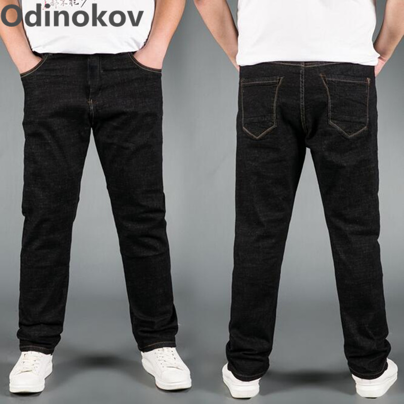 Odinokov Brand 2017 Men Jeans Plus Size 30-48 Stretch Denim Men's Straight Jean Pants Casual Relax Loose Fit Jeanspants sulee brand 2017 new fashion business men jeans cotton denim jeans casual straight washed pants stretch jeans plus size 28 40